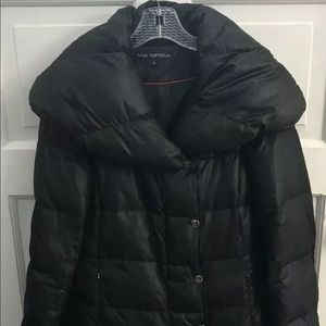 VIA SPIGA Puffer Down Black Jacket Coat Size M